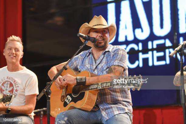 Jason Aldean performs during Jason Aldean's Annual Concert For A Cure at Jason Aldean's Kitchen Rooftop Bar on October 3 2018 in Nashville Tennesse