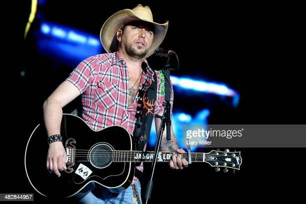 Jason Aldean performs in concert during the March Madness Music Festival at Reunion Park on April 4 2014 in Dallas Texas