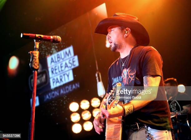 Jason Aldean performs on stage at the iHeartCountry Album Release Party with Jason Aldean At The iHeartRadio Theater Los Angeles on April 12 2018 in...