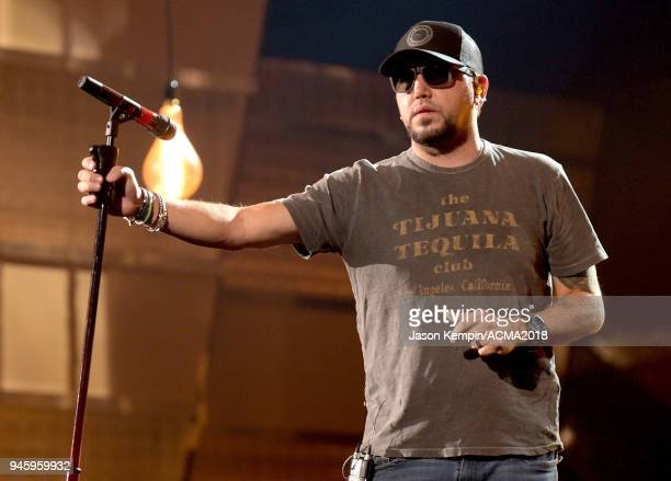 Jason Aldean performs onstage during rehearsals for the 53rd Academy of Country Music Awards at MGM Grand Garden Arena on April 13 2018 in Las Vegas...