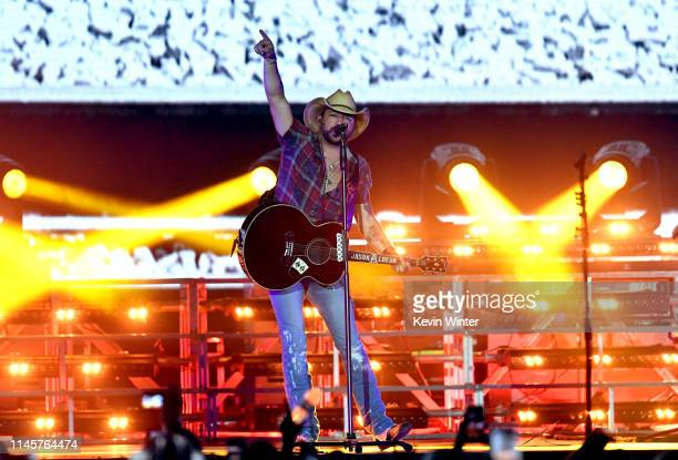 Jason Aldean performs onstage during the 2019 Stagecoach Festival at Empire Polo Field on April 28 2019 in Indio California
