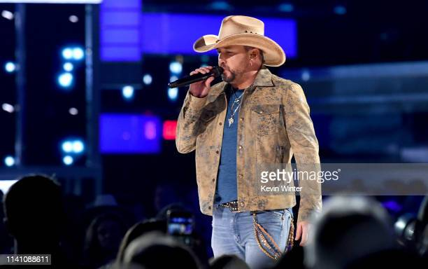 Jason Aldean performs onstage during the 54th Academy Of Country Music Awards at MGM Grand Garden Arena on April 07 2019 in Las Vegas Nevada