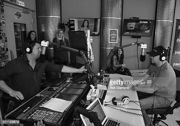 Jason Aldean Visits Storme Warren on The Highway SiriusXM Nashville at SiriusXM Studios on April 14 2016 in Nashville Tennessee