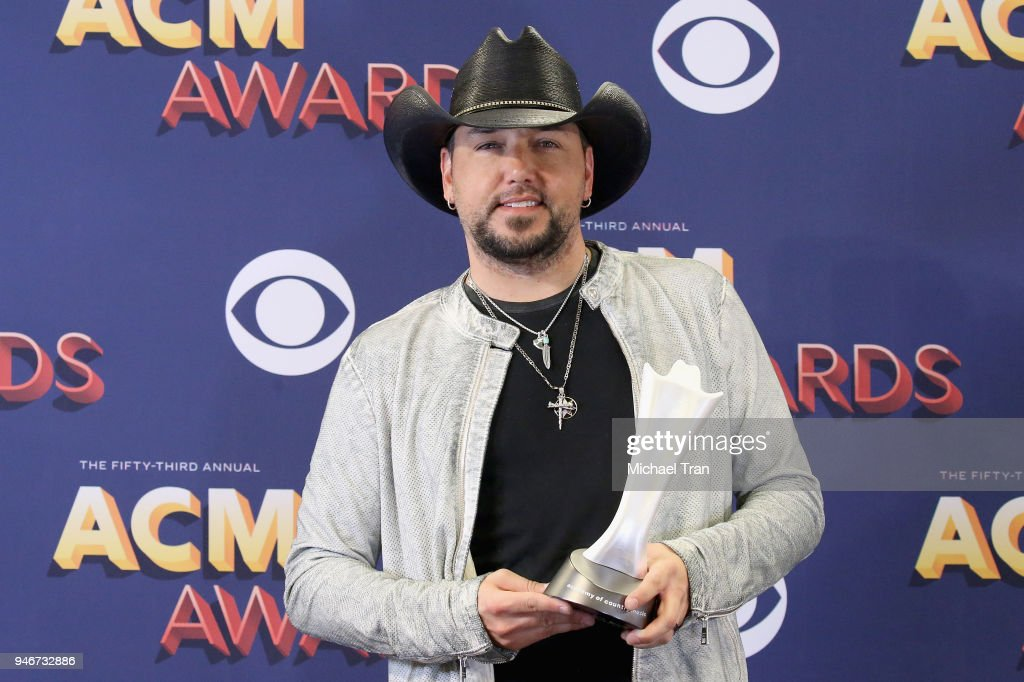 Jason Aldean, winner of Entertainer of the Year, poses in the press room during the 53rd Academy of Country Music Awards at MGM Grand Garden Arena on April 15, 2018 in Las Vegas, Nevada.