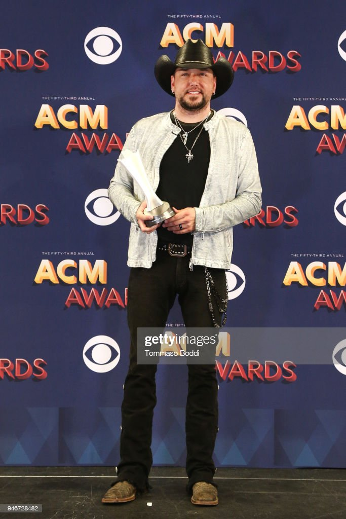 Jason Aldean, winner of the Entertainer of the Year award, poses in the press room during the 53rd Academy of Country Music Awards at MGM Grand Garden Arena on April 15, 2018 in Las Vegas, Nevada.
