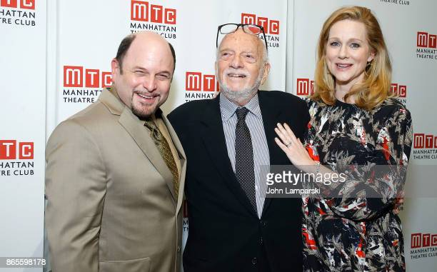 Jason Alexander honoree Hal Prince and Laura Linney attend 2017 Manhattan Theatre Club Fall Benefit at 583 Park Avenue on October 23 2017 in New York...