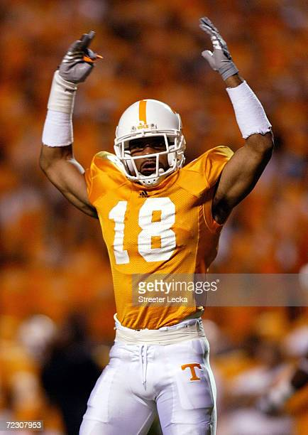 Jason Allen of the Tennessee Volunteers tries to pump up the crowd during their game against the Florida Gators on September 18, 2004 at Neyland...