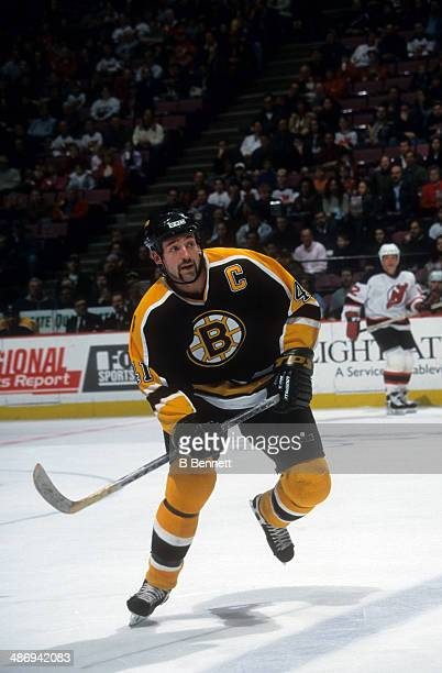 Jason Allison of the Boston Bruins skates on the ice during an NHL game against the New Jersey Devils circa 2001 at the Continental Airlines Arena in...