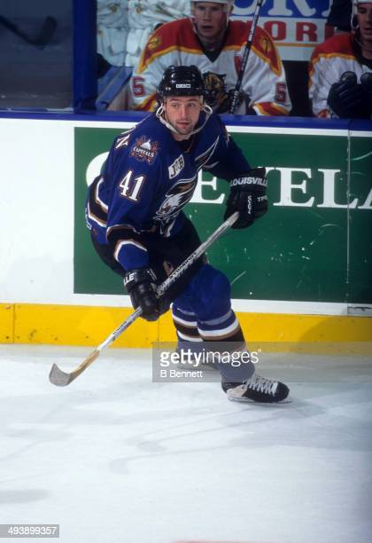 Jason Allison of the Washington Capitals skates on the ice during an NHL game against the Florida Panthers on November 7 1996 at the Miami Arena in...