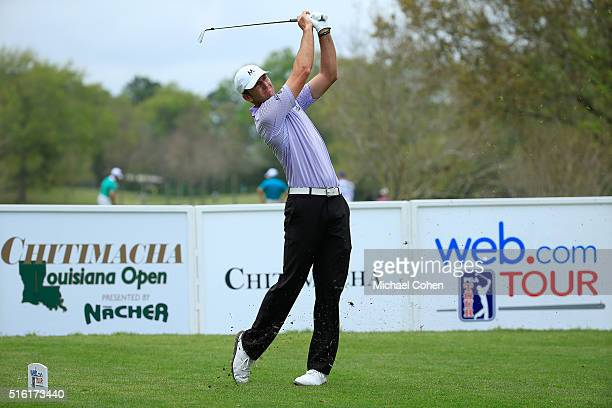 Jason Allred hits his tee shot on the 16th hole during the first round of the Chitimacha Louisiana Open presented by NACHER held at Le Triomphe Golf...