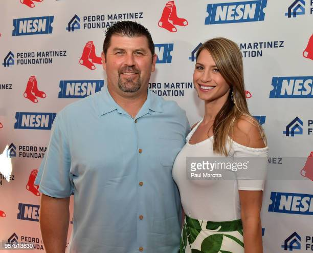 Jason and Catherine Varitek attend the Pedro Martinez Charity Feast With 45 at Fenway Park on June 29 2018 in Boston Massachusetts