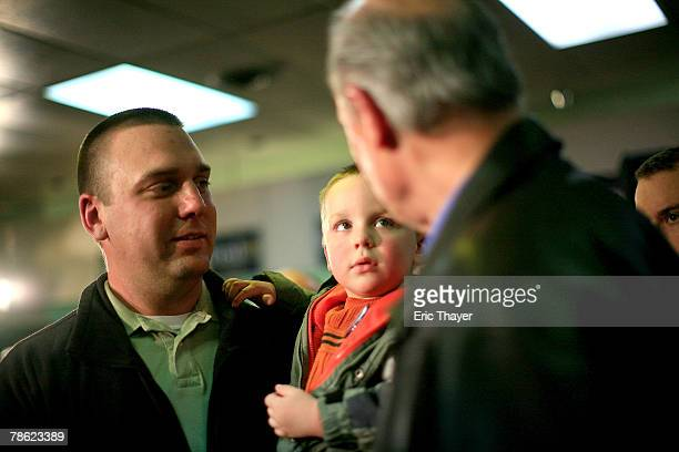 Jason and Keaton Reynolds meet Republican presidential candidate Fred Thompson at a campaign event at the Webster County Republican headquarters...