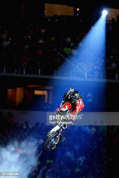 Jason Anderson rider of the Husqvarna FC450 hits a jump during rider introductions during the Monster Energy AMA Supercross gat ATT Stadium on...