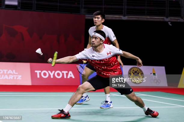Jason Anthony Ho-Shue and Nyl Yakura of Canada compete in the Men's Doubles second round match against Lee Yang and Wang Chi-Lin of Chinese Taipei on...