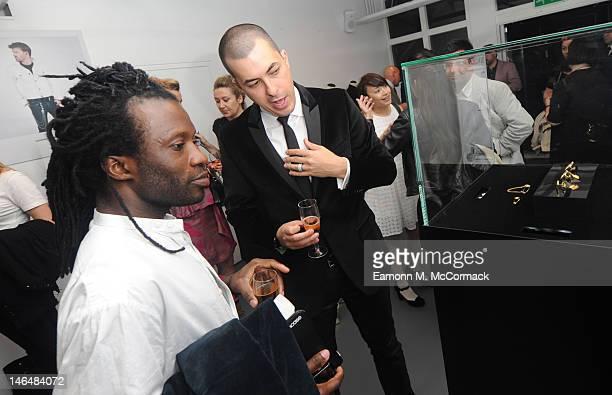 Jason Arasheben attend a party to celebrate the new 'GENTLEMAN David Thomas X JBH' collection from David Thomas and Jason Arasheben during London...