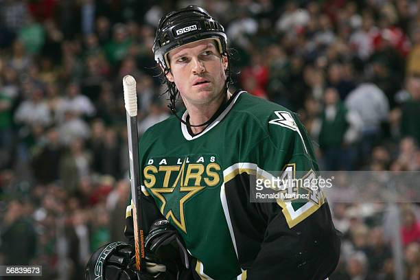Jason Arnott of the Dallas Stars looks on against the Detroit Red Wings at the American Airlines Center on January 28 2006 in Dallas Texas The Stars...