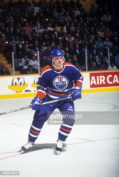 Jason Arnott of the Edmonton Oilers skates on the ice during an NHL game against the Winnipeg Jets on April 17 1995 at the Winnipeg Arena in Winnipeg...