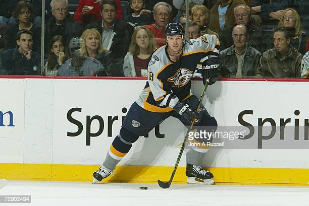 Jason Arnott of the Nashville Predators skates against the Buffalo Sabres at Gaylord Entertainment Center on December 21, 2006 in Nashville,...