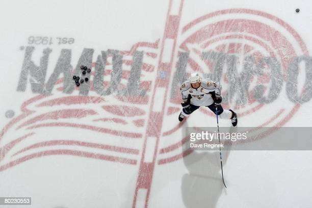 Jason Arnott of the Nashville Predators skates around in warm ups before a NHL game against the Detroit Red Wings on March 9 2008 at Joe Louis Arena...
