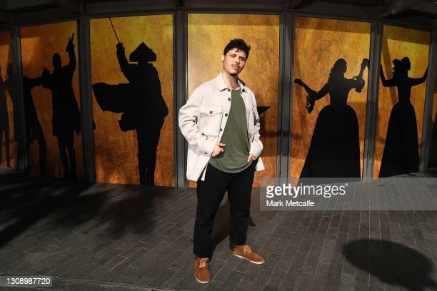 Jason Arrow who plays Alexander Hamilton poses during a media call for Hamilton Australia at Lyric Theatre, Star City on March 25, 2021 in Sydney,...