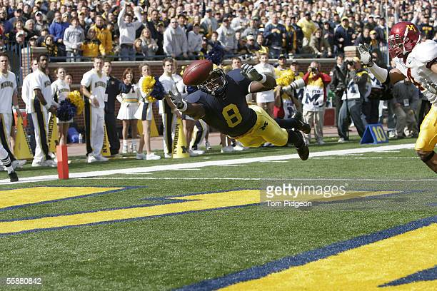 Jason Avant of Michigan cannot reach a pass in the end zone during the second quarter against Minnesota on October 8 2005 at Michigan Stadium in Ann...