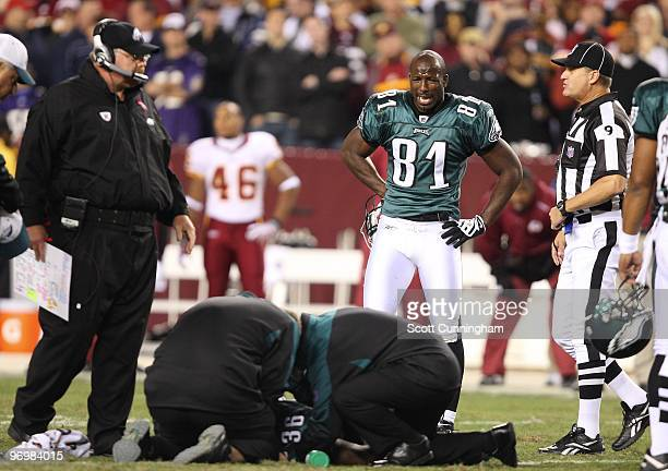 Jason Avant of the Philadelphia Eagles is distraught after an injury to Brian Westbrook in the game against the Washington Redskins at Fedex Field on...