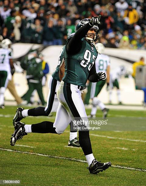 Jason Babin of the Philadelphia Eagles celebrates after a sack against the New York Jets at Lincoln Financial Field on December 18 2011 in...