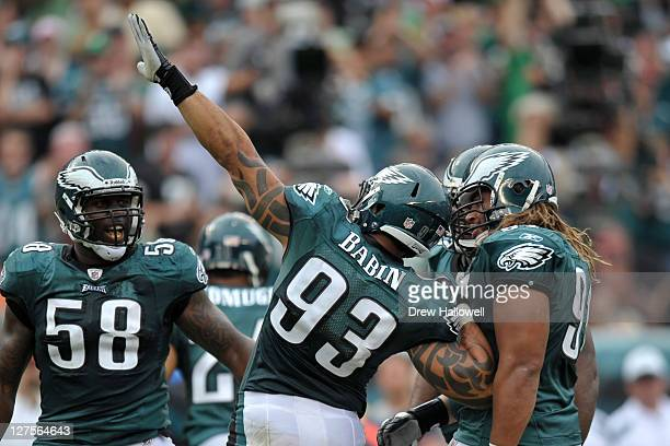 Jason Babin of the Philadelphia Eagles celebrates during the game against the New York Giants at Lincoln Financial Field on September 25 2011 in...