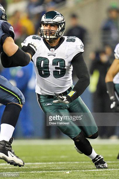 Jason Babin of the Philadelphia Eagles comes off the line during the game against the Seattle Seahawks at Lincoln Financial Field on December 1 2011...