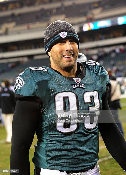 Jason Babin of the Philadelphia Eagles heads off the field after the game against the New York Jets at Lincoln Financial Field on December 18 2011 in...