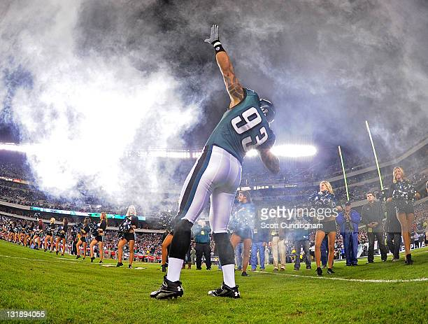 Jason Babin of the Philadelphia Eagles is introduced before the game against the Chicago Bears at Lincoln Financial Field on November 7 2011 in...