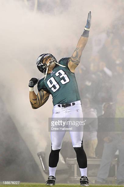Jason Babin of the Philadelphia Eagles poses during the game against the Chicago Bears at Lincoln Financial Field on November 7 2011 in Philadelphia...