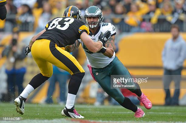 Jason Babin of the Philadelphia Eagles runs during the game against the Pittsburgh Steelers at Heinz Field Field on October 7 2012 in Pittsburgh...
