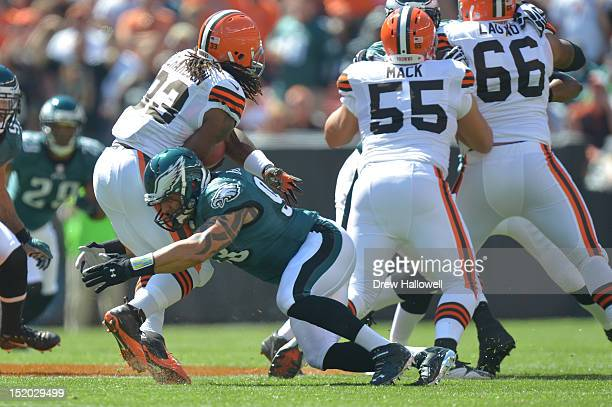 Jason Babin of the Philadelphia Eagles tackles during the game against the Cleveland Browns at Cleveland Browns Stadium on September 9 2012 in...