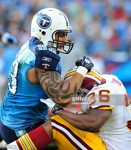 Jason Babin of the Tennessee Titans against the Washington Redskins at LP Field on November 21 2010 in Nashville Tennessee The Redskins won 1916 in...