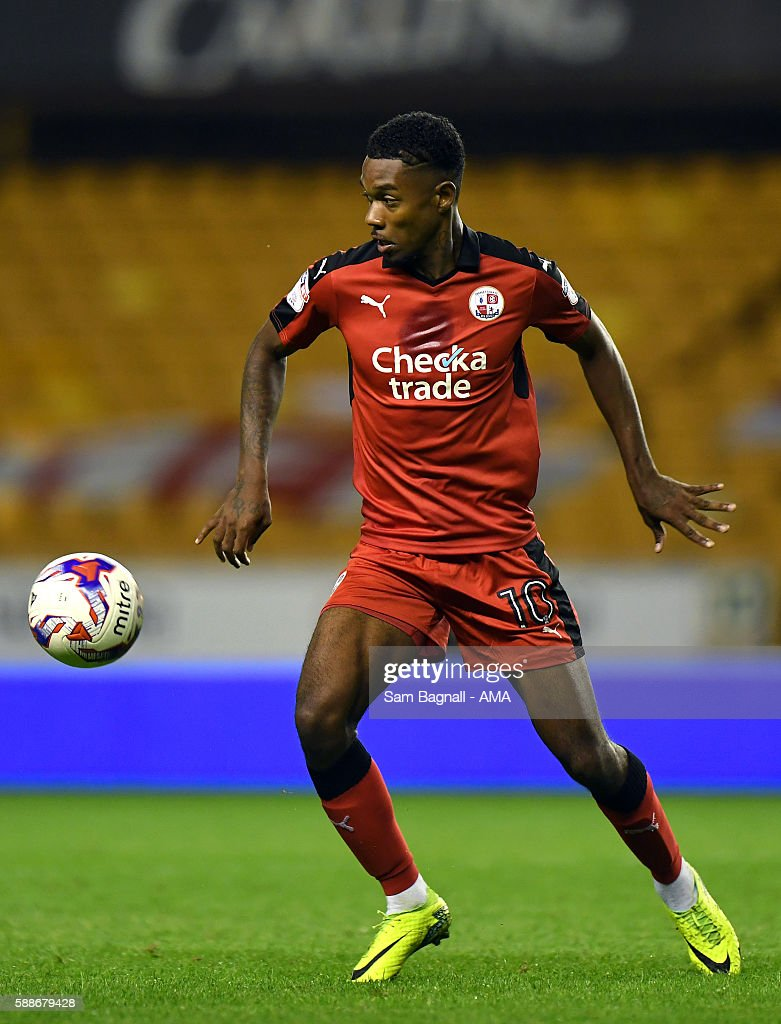 Jason Banton of Crawley Town during the EFL Cup match between Wolverhampton Wanderers and Crawley Town at Molineux on August 8, 2016 in Wolverhampton, England.