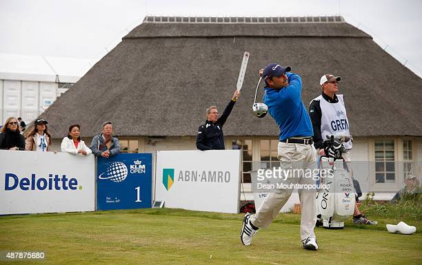 Jason Barnes of England hits his tee shot on the 1st hole during Day 3 of the KLM Open held at Kennemer G CC on September 12 2015 in Zandvoort...