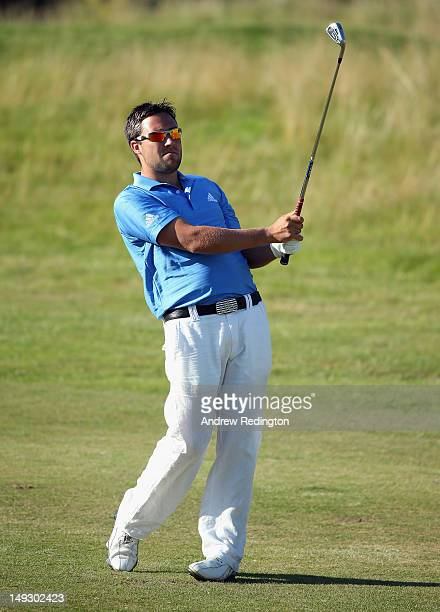 Jason Barnes of England in action during the first round of the English Challenge at Stoke by Nayland Golf Hotel and Spa on July 26 2012 in Stoke by...