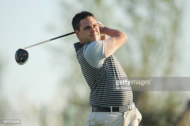 Jason Barnes of England in action during the first round of the Challenge de Madrid on the European Challenge Tour in El Encin Golf Course on April...