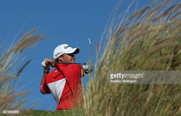 Jason Barnes of England in action during the second round of the Commercial Bank Qatar Masters at Doha Golf Club on January 22 2015 in Doha Qatar