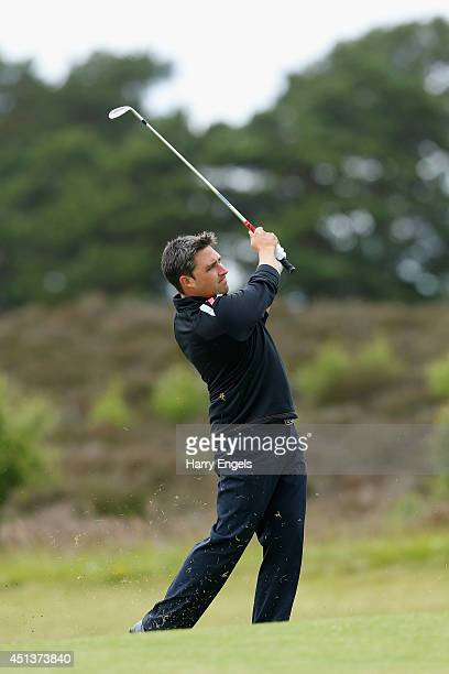 Jason Barnes of England plays off the fairway on day three of the 2014 Scottish Hydro Challenge hosted by MacDonald Hotels Resorts at Spey Valley...