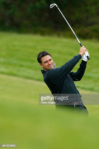 Jason Barnes of England plays off the fairway on day two of the 2014 Scottish Hydro Challenge hosted by MacDonald Hotels Resorts at Spey Valley Golf...
