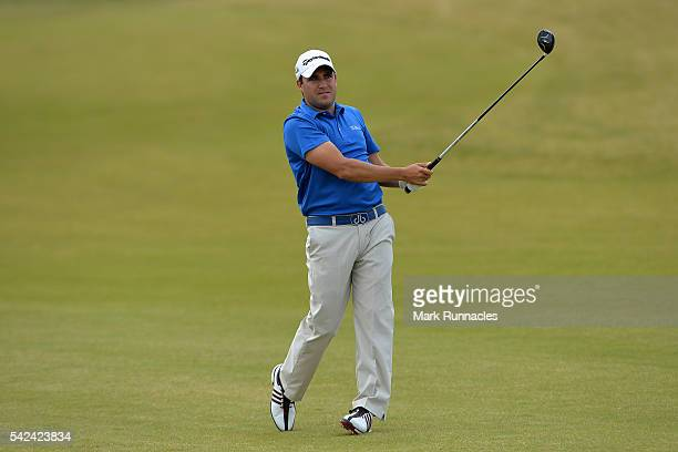 Jason Barnes of England second shot to the 5th during the first day of the 2016 SSE Scottish Hydro Challenge at the MacDonald Spay Valley Golf Course...