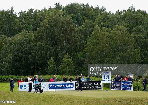Jason Barnes of England tees of at the eighteenth on day three of the 2014 Scottish Hydro Challenge hosted by MacDonald Hotels Resorts at Spey Valley...