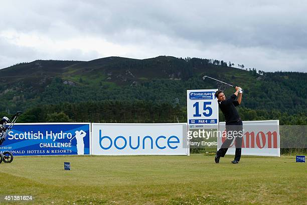 Jason Barnes of England tees of at the fifteenth on day three of the 2014 Scottish Hydro Challenge hosted by MacDonald Hotels Resorts at Spey Valley...