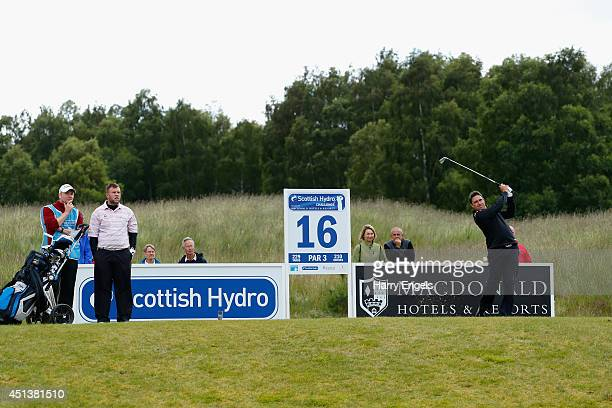 Jason Barnes of England tees of at the sixteenth on day three of the 2014 Scottish Hydro Challenge hosted by MacDonald Hotels Resorts at Spey Valley...