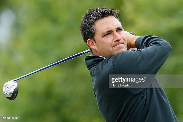 Jason Barnes of England tees off at the eleventh on day two of the 2014 Scottish Hydro Challenge hosted by MacDonald Hotels Resorts at Spey Valley...