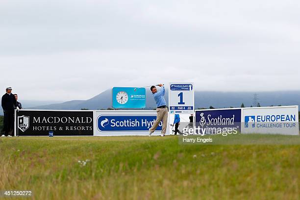 Jason Barnes of England tees off at the first on day one of the 2014 Scottish Hydro Challenge hosted by MacDonald Hotels Resorts at Spey Valley Golf...