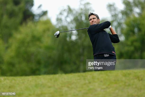 Jason Barnes of England tees off at the seventeenth on day three of the 2014 Scottish Hydro Challenge hosted by MacDonald Hotels Resorts at Spey...