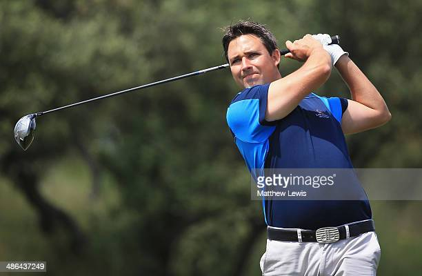 Jason Barnes of England tees off on the 10th hole during day one of the Challenge de Catalunya at the Lumine Golf and Beach Club on April 24 2014 in...